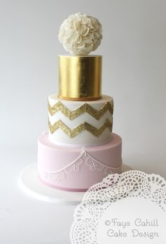 Pink, gold and ruffle cake by Faye Cahill Cake Design