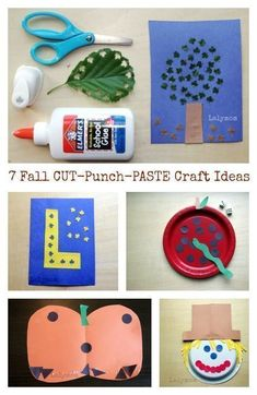 Here are some fall themed cut, punch, and paste craft ideas from Lalymom. Young children will have fun making these crafts that are filled with fine motor skills building. Learning to cut with scissors is a very important, sometimes difficult, skill that children need to learn. Children are thrilled when they learn how to use a hole punch! FUN, FUN, FUN!