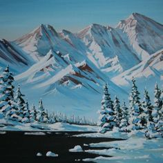original oil on canvas, unframed. Painted in studio located in San Francisco, California. Painting Snow, Winter Painting, Winter Art, Oil Painting Abstract, Mountain Paintings, Nature Paintings, Beautiful Paintings, Landscape Paintings, Watercolor Artwork