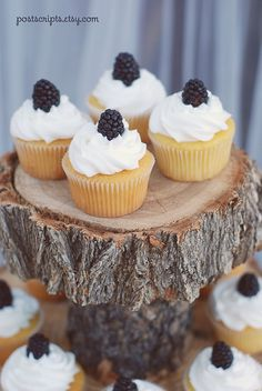 rustic wood cupcake stands -order now for your spring wedding!