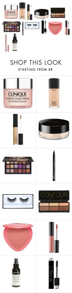 """""""Makeup Routine"""" by albajaria23 on Polyvore featuring beauty, Clinique, MAC Cosmetics, NARS Cosmetics, Sensai, Huda Beauty, NYX, Too Faced Cosmetics, Ciaté and Christian Dior"""