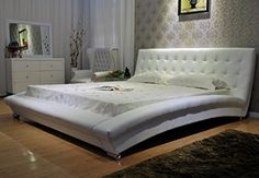 GREATIME B10534 Eastern King White Modern Leatherette Platform Bed -- Visit the image link more details.