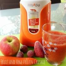 INGREDIENTS 1 carrot, peeled and chopped into 2cm pieces 6 Frozen strawberries 6 Frozen grapes 1 Apple chopped, core removed Enough cold water to cover the fruits and Vege in the blitz2go drink bottle DIRECTIONS Place all the ingredients into the drink bottle, making sure to put the frozen ingredients in last. Blitz for 20 seconds.   Recipes c...