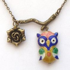 Antiqued Brass branch Flower Owl Necklace