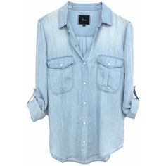 Rails Marlow Button Down Blouse in Vintage Wash ($136) ❤ liked on Polyvore featuring tops, blouses, shirts, blusas, blue top, button-down blouses, blue blouse, button-down shirt and shirt tops