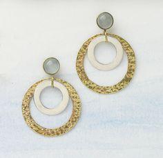 Drop in the Ocean Hoop post earrings   Combining silver, brass, and aqua-colored chalcedony gemstones. Brass posts. serrv.org