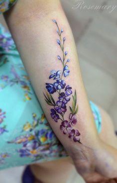 Tattoo цветы на предплечье - tattoo's photo In the style Art, Female, Flowe Wrist Tattoos, Mini Tattoos, Body Art Tattoos, Small Tattoos, Tatoos, Pretty Tattoos, Beautiful Tattoos, Cool Tattoos, Larkspur Tattoo