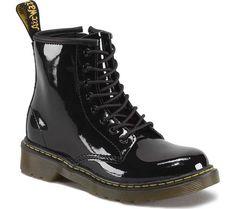 db239d15338e Children's Dr. Martens Delaney 8 Eye Side Zip Boot - Junior - Black Patent  Lamper