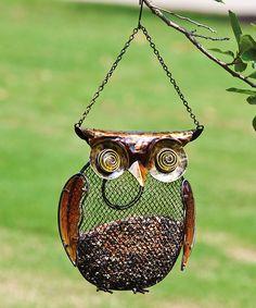 Metal Owl Bird Feeder.