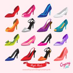 Fashion high heels clip art featuring different colors and types of women high heels. #clipart #vector #design See more at CreamyInk.etsy.com