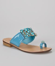 Take a look at this Blue Blondie Embellished Sandal by French Kiss on #zulily today!