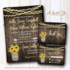 Sunflowers Wedding Invitation  Rustic Summer Wedding