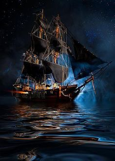 Black Sails, Pirate Ship Wide Angle with Milky Way by: Neil Lockhart Pirate Art, Pirate Life, Pirate Ships, Foto Picture, Old Sailing Ships, Ship Drawing, Ship Paintings, Ghost Ship, Black Sails