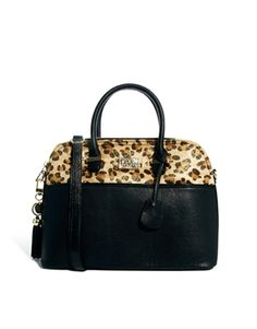 Image 1 ofPauls Boutique Maisy Leopard Panel Black Bag