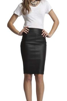 Faux leather pencil skirt. YES PLEASE!