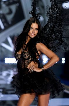 Adriana Lima smolders as she takes on the runway in lace, tulle & feather wings! | Designer Collection Babydoll