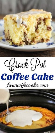 A delicious Crock Pot Coffee Cake that has just the slightest coconut flavor. Th… A delicious Crock Pot Coffee Cake that has just the slightest coconut flavor. The recipe is perfect for a brunch or dessert. Crockpot Cake Recipes, Crockpot Deserts, Slow Cooker Recipes Dessert, Crockpot Dishes, Gourmet Recipes, Crockpot Meals, Breakfast Crockpot, Yummy Recipes, Snack Recipes