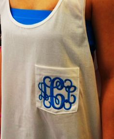 Monogram Tank Pocket Oversize Font Shown INTERLOCKING. $19.99, via Etsy. White with Navy thread