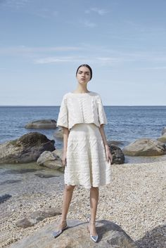 Co Womenswear | knitted wool skirt and crop top