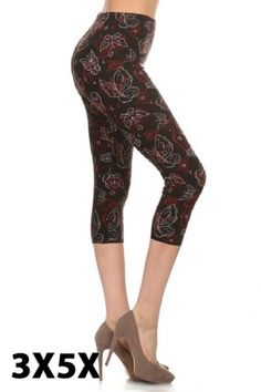 b414cbd7376453 Burgundy Butterfly Outline Capri Printed Leggings, Women's Leggings, Leggings  Depot, Capri Leggings,