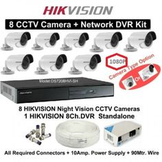 2 MP HD HIKVISION 16 CCTV Camera + 16Ch. HD DVR Kit (With All Accessories and Wire)