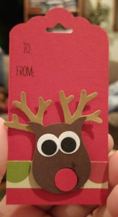 Rudolph Christmas gift tag made with the Owl Builder Punch, Tree Builder Punch and one of the Tag Punches.