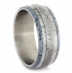 Titanium ring with mokume gane, antler & meteorite