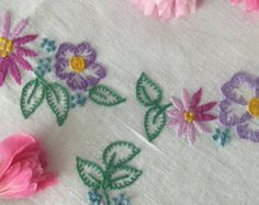 Large Embroidered Tablecloth Hand Embroidered by PeonyandThistle