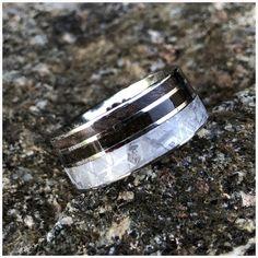 Gibeon Meteorite Wedding Ring w/ Redwood Inlay Authentic T-Rex Fossil Inlay Wedding Men, Wedding Bands, Meteorite Wedding Band, Gibeon Meteorite, Special Symbols, Renaissance Jewelry, Wide Rings, T Rex