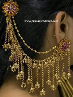 Ever green bahubali ear rings with multi layered chains adorned with jumkhas.For more details :- Sai Jewellery MartContact number :- 80122 86177 Bridal Jewellery Inspiration, Indian Bridal Jewelry Sets, Bridal Jewelry Vintage, Jewelry Design Earrings, Gold Earrings Designs, Ear Jewelry, Silver Earrings, Antique Jewellery Designs, Fancy Jewellery