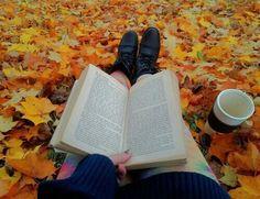 осень, книга, чашка, девушка