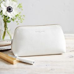 Made from premium pebblegrain leather, this make-up bag is fully lined and finished with a smart metal zip closure. We've recently updated the shape to make it more structured and perfectly sized to hold all your beauty essentials, making it idea The White Company, Makeup Pouch, Makeup Case, Makeup Kit, Lip Makeup, Cute Pencil Case, Pencil Cases, Wash Bags, Ideas