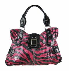 GOTTA HAVE ONE!!! Hot Pink / Black Zebra Stripe Chrome Buckle Purse