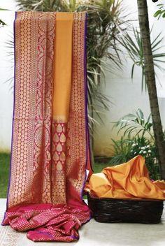 Banarasi Silk Saree Kanjivaram Sarees, Kanchipuram Saree, Indian Dresses, Indian Outfits, Indian Silk Sarees, Yellow Saree, Elegant Saree, Traditional Sarees, Indian Attire