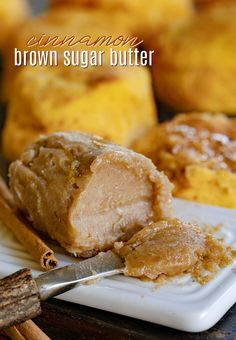 This easy to make Brown Sugar Cinnamon Butter takes all manner of baked goods to the next level! Lightly sweetened and spiced with cinnamon, there is fantastic flavor and warmth to this crowd pleasing compound butter. // Mom On Timeout Homemade Biscuits Recipe, Homemade Butter, Biscuit Recipe, Cinnamon Butter, Cinnamon Recipes, Flavored Butter, Butter Recipe, Pesto, Sauces