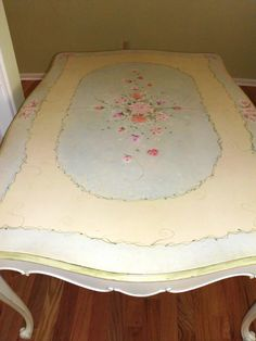 "Gorgeous Shabby Roses Hand Painted Dining Room Table French Provincial 64"" x 44"" 