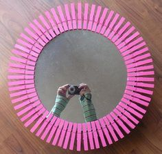 Bursting With Pink Starburst Mirror, Thread Spools, Make And Sell, Metal Art, Pink Color, Old Things, Creative, Repurpose, Reuse
