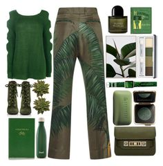 """Greenery"" by juliehalloran on Polyvore featuring F.R.S For Restless Sleepers, Boohoo, Prada, Sloane Stationery, S'well, Byredo, Clinique, Casetify, Borghese and Estée Lauder"