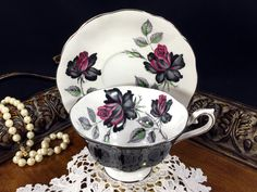 Rare Royal Albert, Avon Shaped Black Teacup and Saucer, High Handled Wide Mouthed, Black and Red Rose Tea Cup J-1768