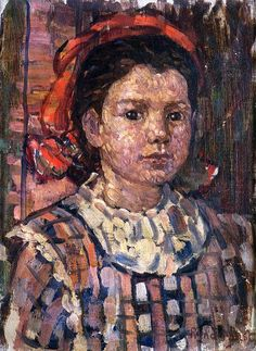 Maurice Prendergast (American 1858–1924) [Post-Impressionism, The Eight] c1910-13, Portrait of a Young Girl, oil on canvas, 36.8 x 27.9 cm.