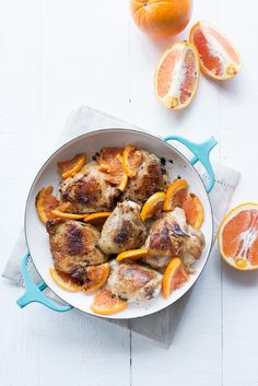 Vanilla Balsamic Roasted Chicken Thighs with Cara Cara Orange Sauce #VanillaWeek