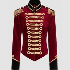 "Women Red Wool Military Jacket Golden Trim - Sizes ""xS to - Uniform Vintage Military Jacket, Military Field Jacket, Military Style Jackets, Vintage Jacket, Army Jackets, Military Inspired Fashion, Military Fashion, Red Velvet Jacket, Black Velvet"