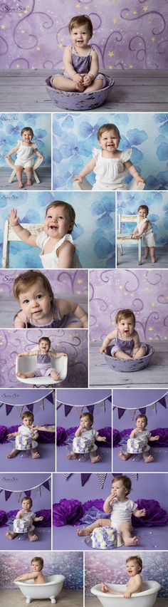 Perfect purple themed first birthday cake smash photo session in studio with Hannah.  Sunny S-H Photography Winnipeg