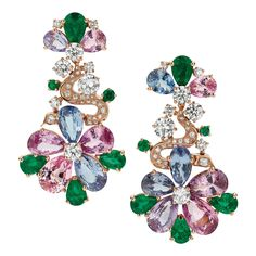 Spinels, emeralds and diamonds in a floral motif define these Bulgari earrings from the Mediterranean Eden collection (POA).