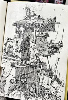 """Ian McQue auf Twitter: """"Sketchbook: 'Dry Dock'. http://t.co/4Ebkqkk3u4"""""""
