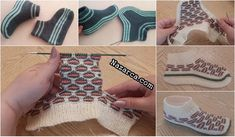 AYNI TEKNİK İLE 2 FARKLI PATİK ÖRGÜSÜ SESLİ TARİFİYLE Crochet Socks Pattern, Knit Headband Pattern, Knitted Headband, Baby Knitting Patterns, Fingerless Gloves, Arm Warmers, Free Pattern, Slippers, Model