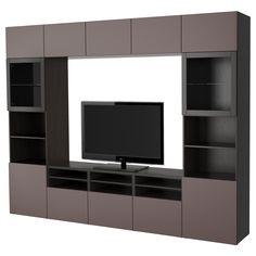 BESTA TV Komb Mit Vitrinenturen Schwarzbraun Jetzt Bestellen Unter Moebelladendirektde Wohnzimmer Tv Hifi Moebel Waende Uid09019e77 4763