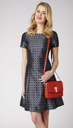 Dress, £105, maggyfrances.com; Bag, £195, Russell & Bromley: 0207 629 6903