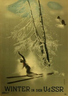 Intourist Winter in the USSR, 1930s - original vintage poster by N Zhukov listed on AntikBar.co.uk