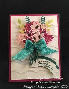 Stampin' UP Beautiful Bouquet Bundle card features the In Colors as well as the Ruffled Textured Embossing folder. The Happy Birthday sentiment is stamped with Tranquil Tide ink and punched out with the Duet Banner punch. Birthday Gifts For Boys, Handmade Birthday Cards, Friend Birthday, Happy Birthday, Handmade Cards, Card Making Tutorials, Card Making Techniques, Making Ideas, Birthday Sentiments